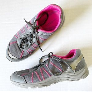 Vionic Alliance Gray & Pink Lace Up Sneakers 9.5